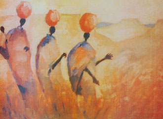 painting of three women walking