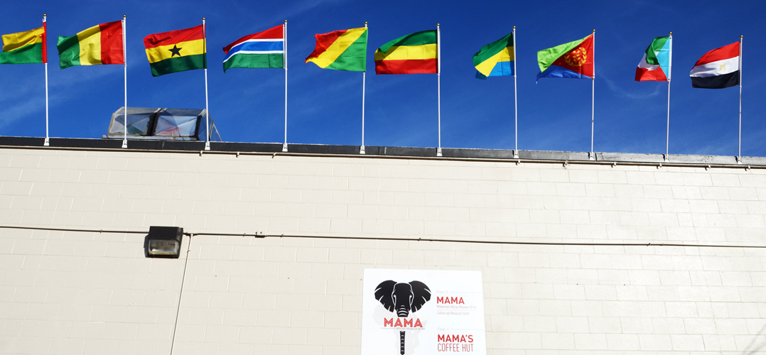 International flags flying atop the MAMA