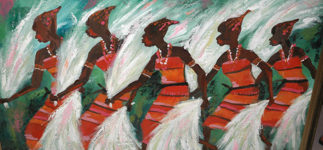 African painting of dancers