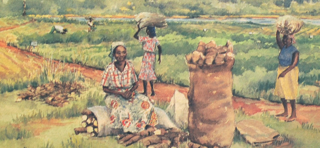 watercolor of women working in field